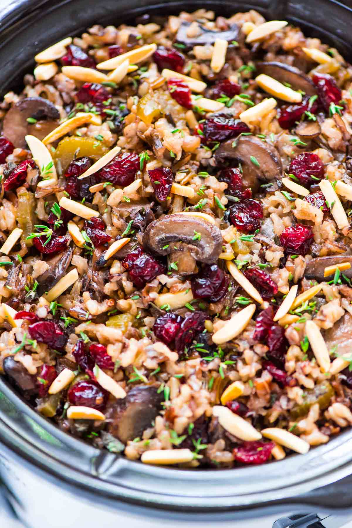 Crockpot Stuffing with Wild Rice Cranberries and Almonds